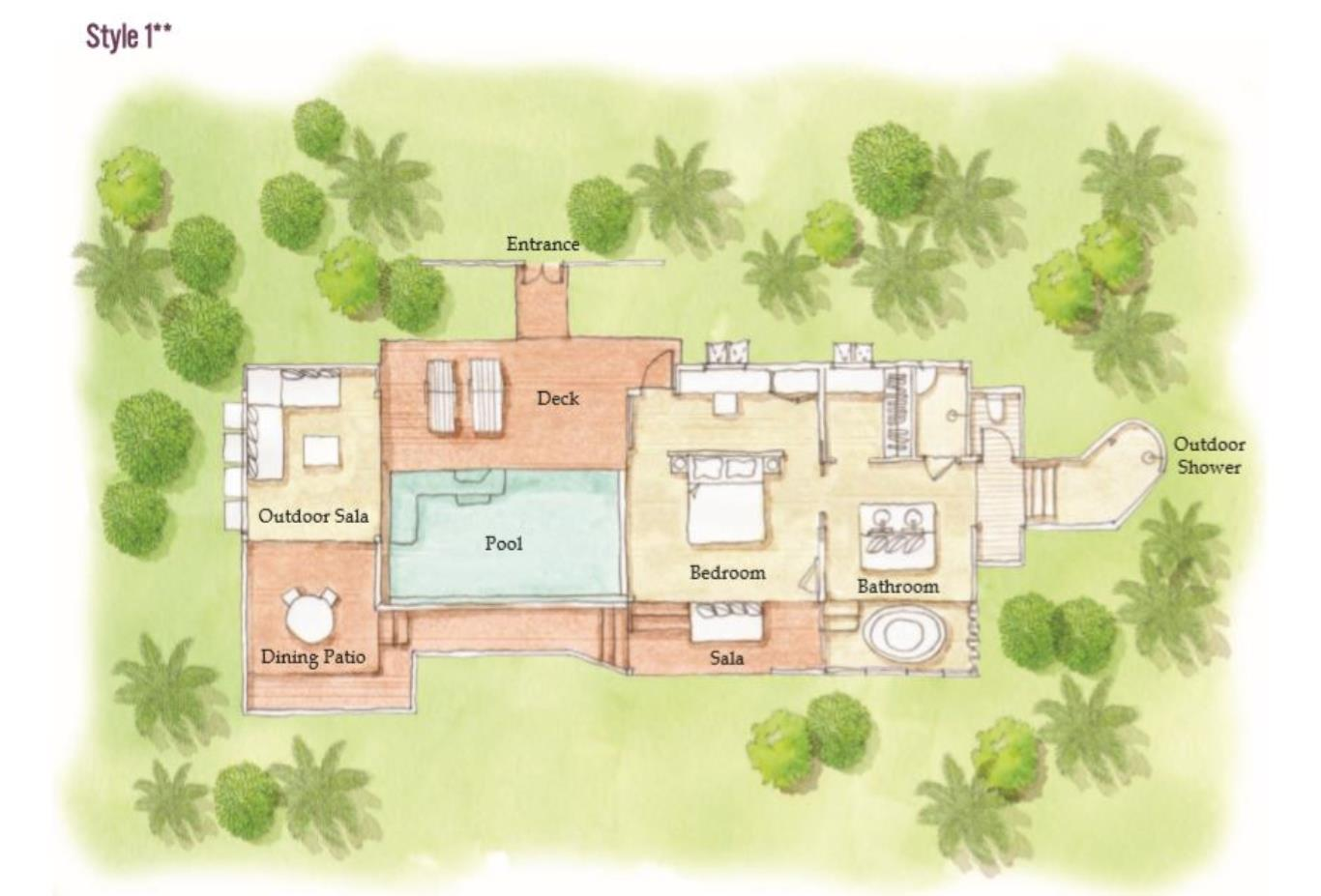 Floorplan Panorama Pool Villa layout one